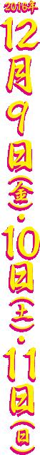 2016年12月9日(金)・10日(土)・11日(日)